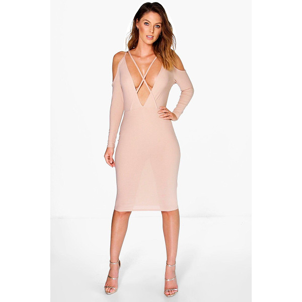 BOOHOO Ria Strappy Open Shoulder Bodycon Dress - Get dance floor-ready in an entrance-making evening...