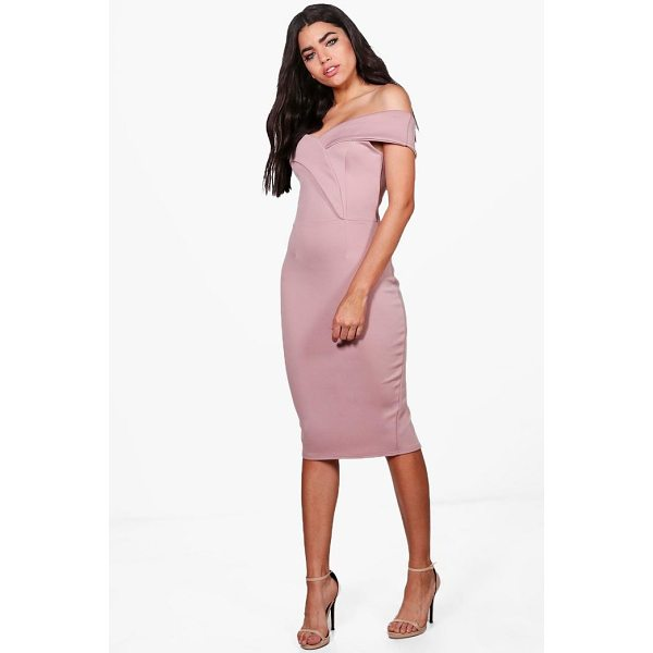 BOOHOO Rita Off Shoulder Detail Midi Dress - Dresses are the most-wanted wardrobe item for day-to-night...