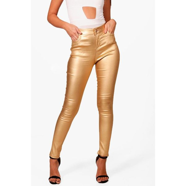 BOOHOO Riz High Rise Metallic Coated Denim Skinny Jeans - Jeans are the genius wear-with-anything wardrobe...