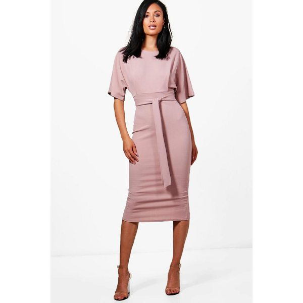 BOOHOO Roisin Tie Waist Formal Wiggle Midi Dress - Dresses are the most-wanted wardrobe item for day-to-night...