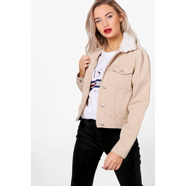 BOOHOO Rosa Slim Fit Borg Collar Denim Jacket - Comfortable and versatile, slip into a pair of jeggings for...