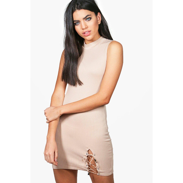 BOOHOO Rose Lace Up Side Ribbed Bodycon Dress - Dresses are the most-wanted wardrobe item for day-to-night...