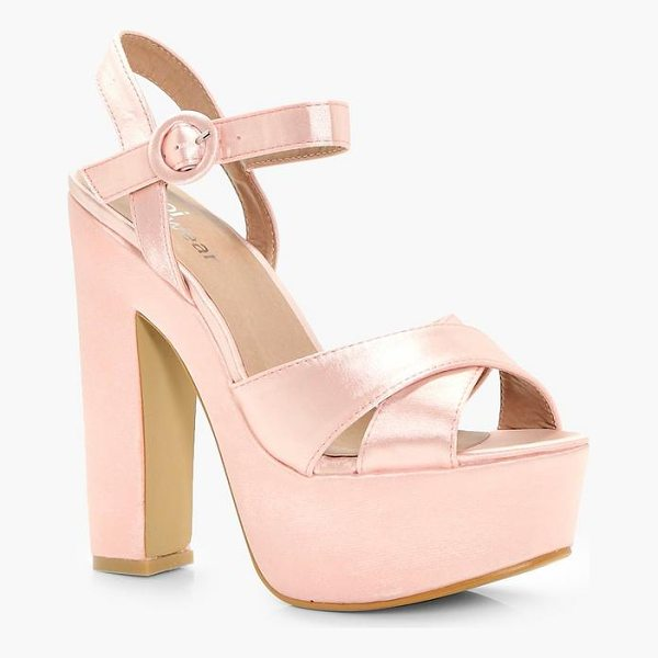BOOHOO Rose Platform Cross Strap Heels - We'll make sure your shoes keep you one stylish step ahead...