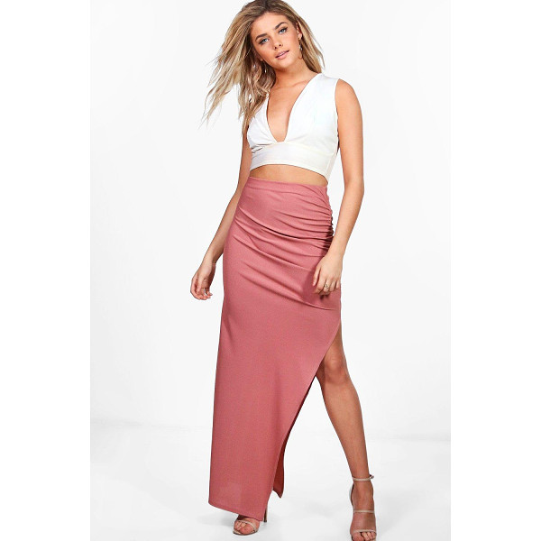 BOOHOO Rosetta Rouched Side Ribbed Maxi Skirt - Rosetta Rouched Side Ribbed Maxi Skirt rose