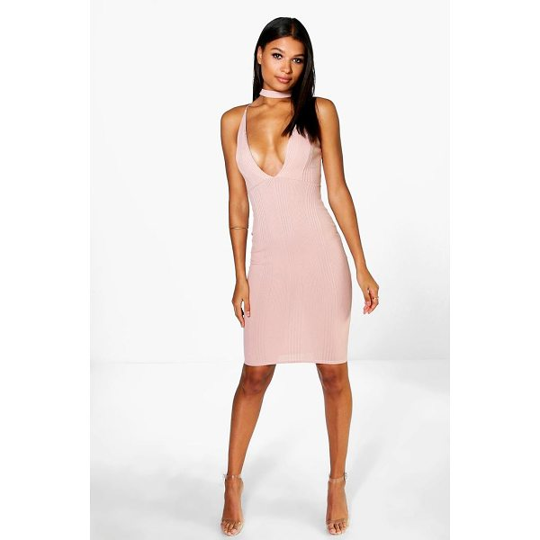 BOOHOO Rosie Ribbed Midi Bodycon Dress - Dresses are the most-wanted wardrobe item for day-to-night...