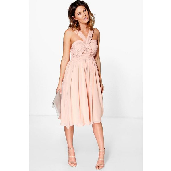 BOOHOO Rowa Pleated Strappy Midi Skater Dress - Dresses are the most-wanted wardrobe item for day-to-night...