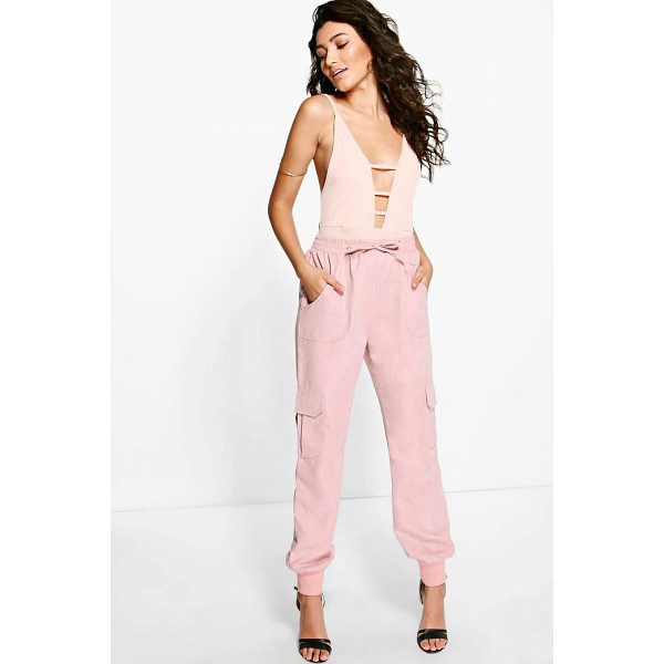 BOOHOO Royah Soft Touch Pocket Side Woven Joggers - Trousers are a more sophisticated alternative to...