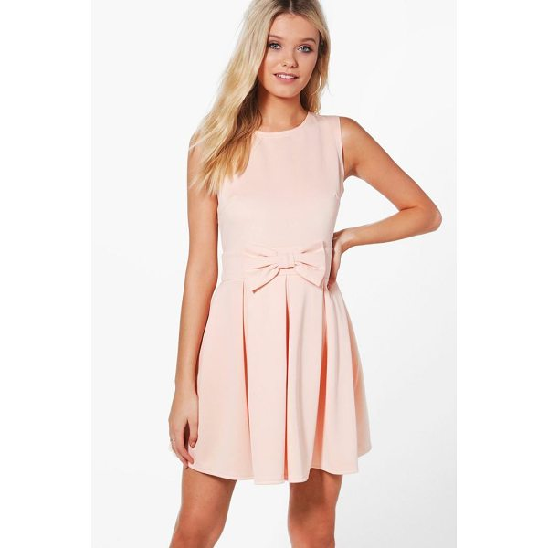 BOOHOO Ruth Bow Front Pleat Skirt Skater Dress - Dresses are the most-wanted wardrobe item for day-to-night...