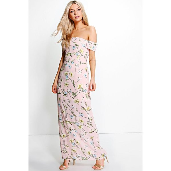 BOOHOO Rylie Chiffon Floral Off Shoulder Maxi Dress - Dresses are the most-wanted wardrobe item for day-to-night...