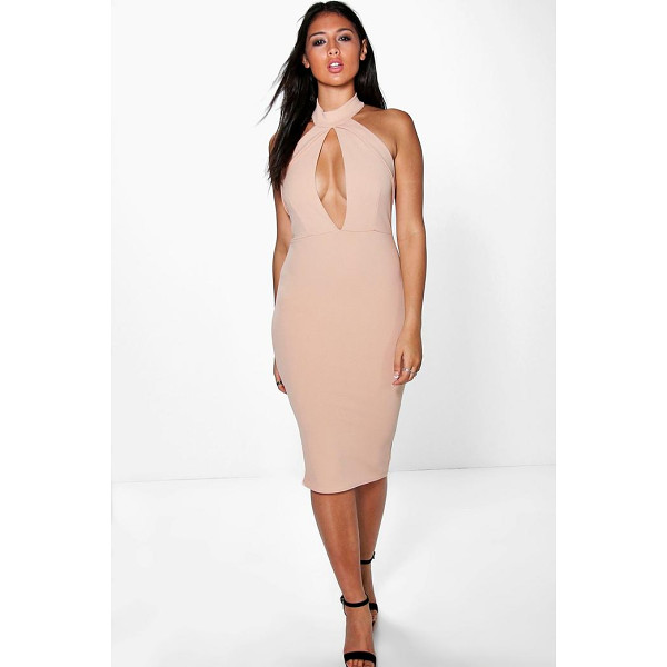 BOOHOO Sadie Fold Over Keyhole Detail Bodycon Dress - Get dance floor-ready in an entrance-making evening...