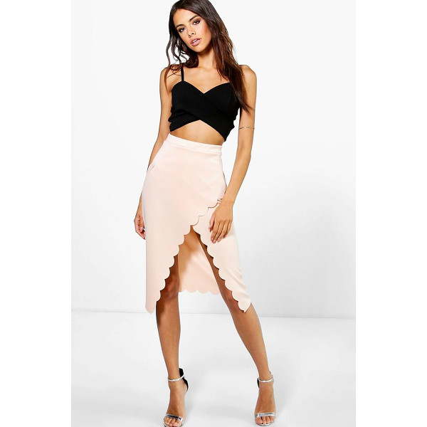 BOOHOO Saffron Scallop Wrap Midi Skirt - Party with your pins out in a statement evening skirtSteal...
