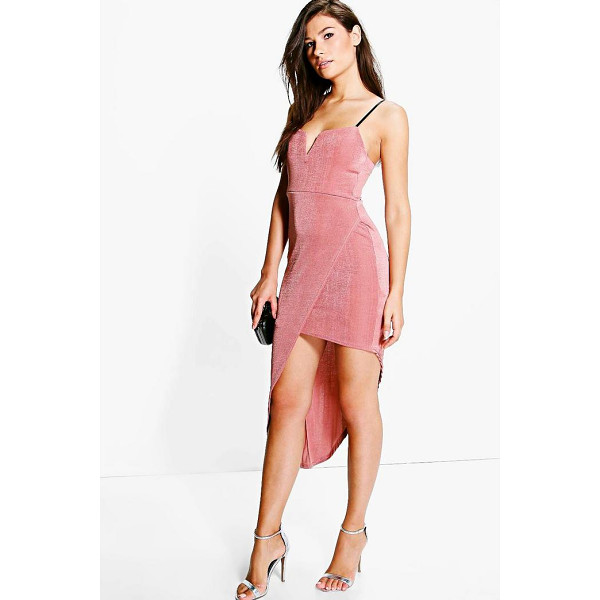 BOOHOO Sally Slinky Plunge Neck Wrap Slit Midi Dress - Dresses are the most-wanted wardrobe item for day-to-night...