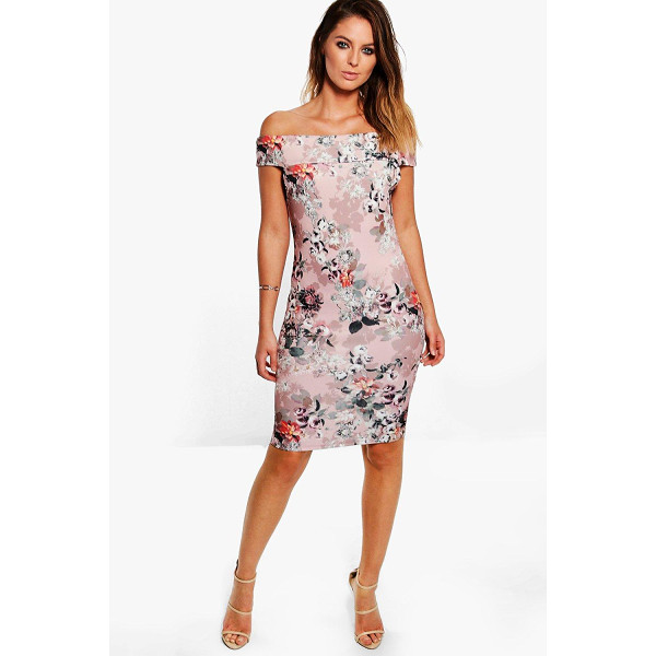 BOOHOO Sandra Floral Print Bardot Midi Dress - Dresses are the most-wanted wardrobe item for day-to-night...