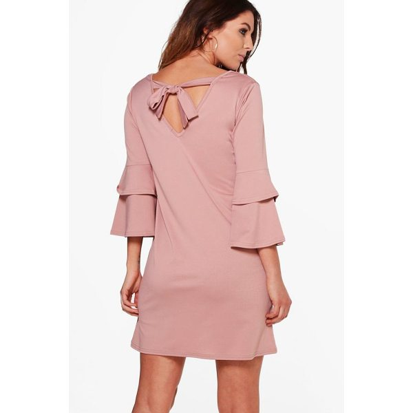 BOOHOO Sara Frill Sleeve Tie Back Dress - Dresses are the most-wanted wardrobe item for day-to-night...