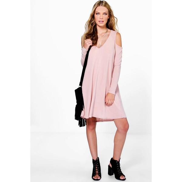 BOOHOO Sara V Neck Cold Shoulder Rib Knit Swing Dress - Pared back day dresses are the perfect base for layering up...
