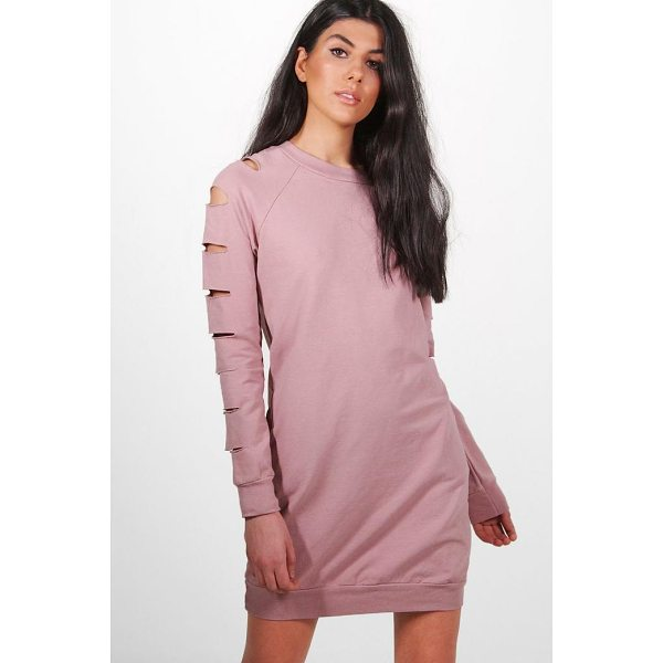 BOOHOO Sarah Cut Sleeve Distressed Sweat Dress - Dresses are the most-wanted wardrobe item for day-to-night...