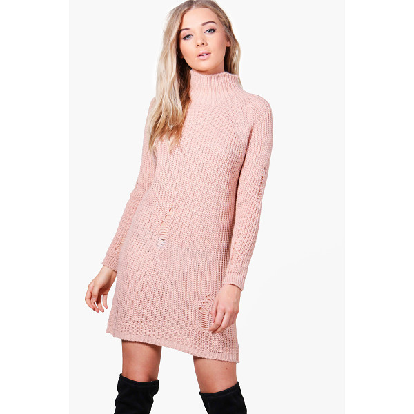 BOOHOO Sarah Distressed High Neck Jumper Dress - Nail new season knitwear in the jumpers and cardigans that...