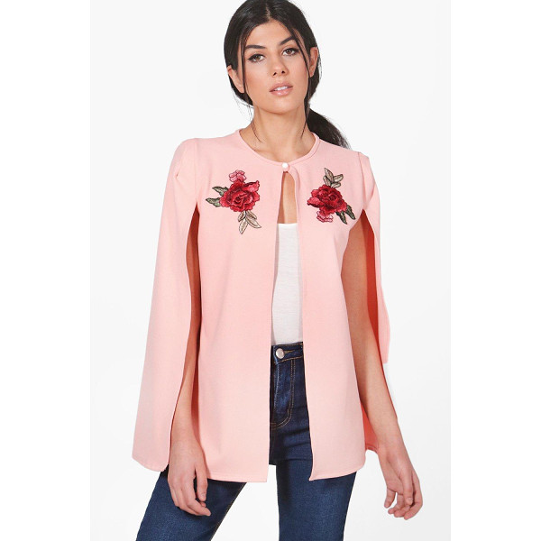 BOOHOO Sarah Embroidered Cape - Wrap up in the latest coats and jackets and get out-there...