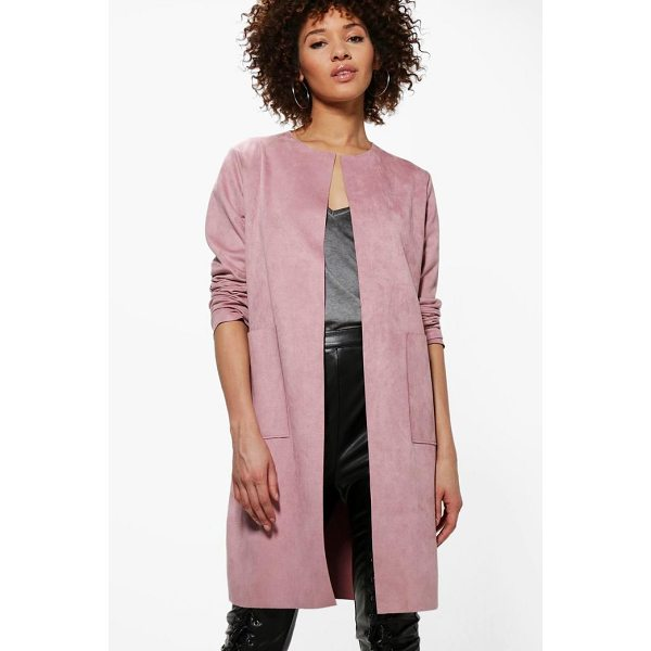 BOOHOO Sarah Suedette Edge To Edge Jacket - Wrap up in the latest coats and jackets and get out-there...