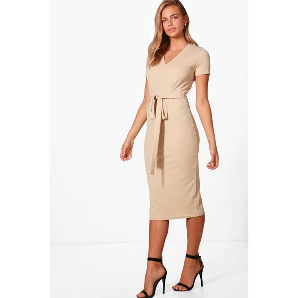BOOHOO Sarah V-Neck Tie Waist Fitted Dress - Dresses are the most-wanted wardrobe item for day-to-night...
