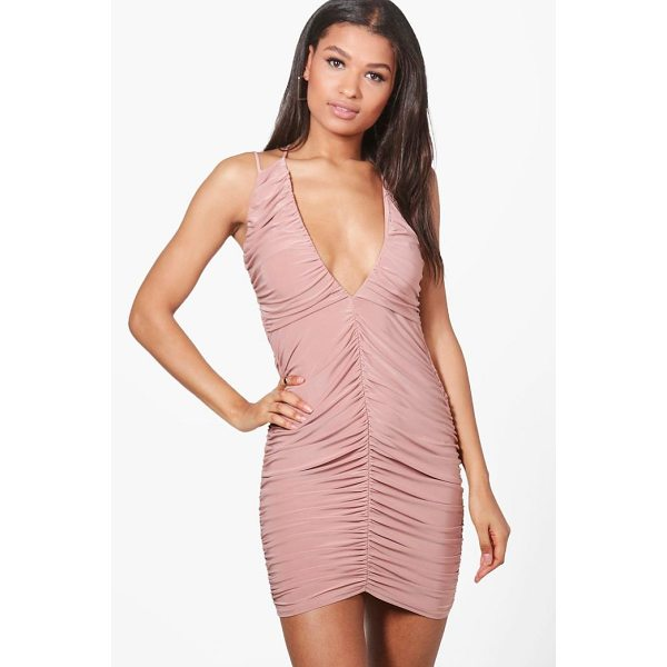 BOOHOO Sasia Ruching Detail Slinky Bodycon Dress - Dresses are the most-wanted wardrobe item for day-to-night...
