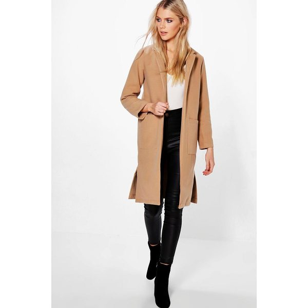 BOOHOO Savannah Wool Look Coat With Pockets - Wrap up in the latest coats and jackets and get out-there...