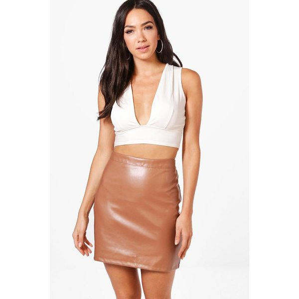 BOOHOO Scarlett A Line Leather Look Mini Skirt - Knock 'em dead and show off those pins with a killer mini...