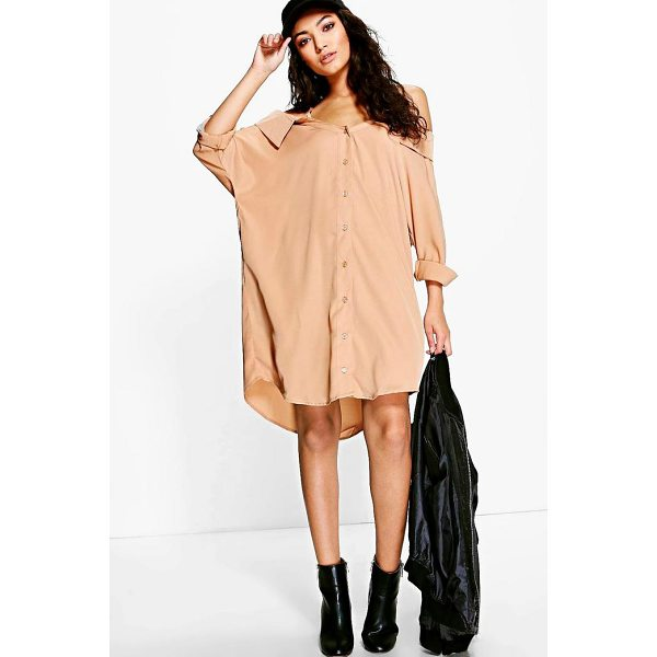 BOOHOO Selena Cold Shoulder Collar Shirt Dress - Dresses are the most-wanted wardrobe item for day-to-night...