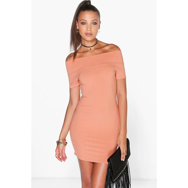 BOOHOO Selena Off Shoulder Ribbed Mini Bodycon Dress - Dresses are the most-wanted wardrobe item for day-to-night...