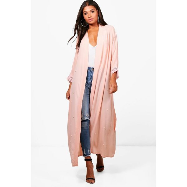 BOOHOO Shannon Pearl Embellished Belted Duster - Wrap up in the latest coats and jackets and get out-there...