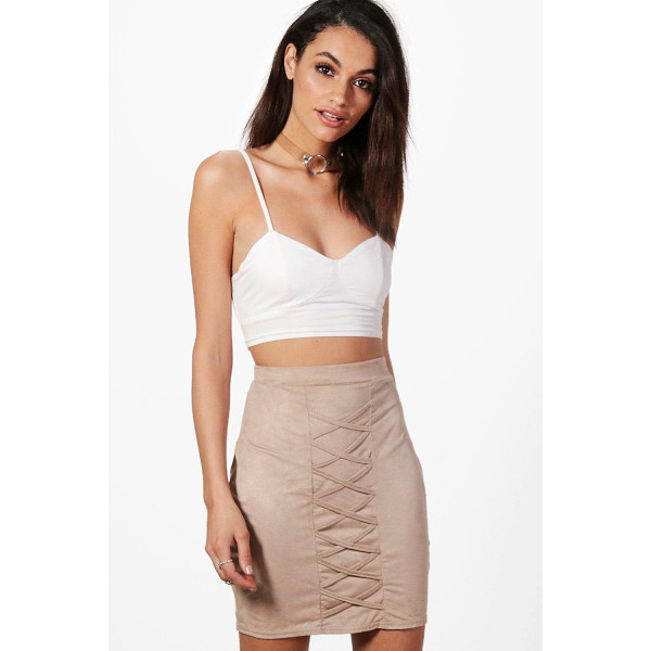 BOOHOO Sia Suedette Lace Up Mini Skirt - Skirts are the statement separate in every wardrobe This...