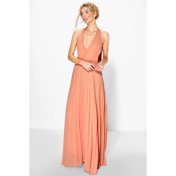 BOOHOO Sidra Chiffon Pleated Plunge Maxi Dress - Dresses are the most-wanted wardrobe item for day-to-night...