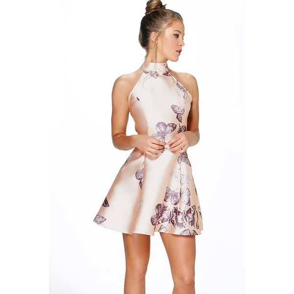 BOOHOO Silvia Sateen Butterfly Print Fit and Flare Dress - Dresses are the most-wanted wardrobe item for day-to-night...