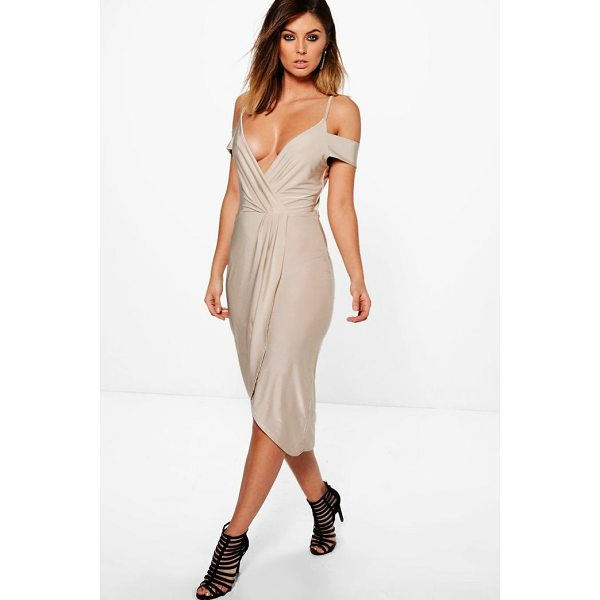 BOOHOO Sky Slinky Cold Shoulder Wrap Detail Midi Dress - Dresses are the most-wanted wardrobe item for day-to-night...