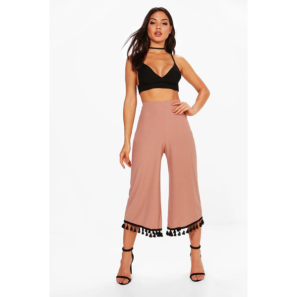 BOOHOO Skye Tassel Trim Wide Leg Culottes - Trousers are a more sophisticated alternative to...