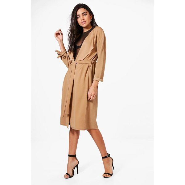 BOOHOO Sofia Gathered Back Longline Duster - Wrap up in the latest coats and jackets and get out-there...