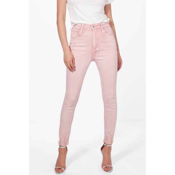 BOOHOO Sofia High Rise Distressed Hem Skinny Jeans - Jeans are the genius wear-with-anything wardrobe...