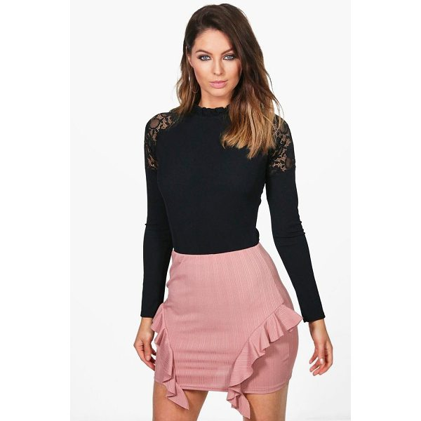 BOOHOO Sofia Ribbed Ruffle Side Mini Skirt - Skirts are the statement separate in every wardrobe This...