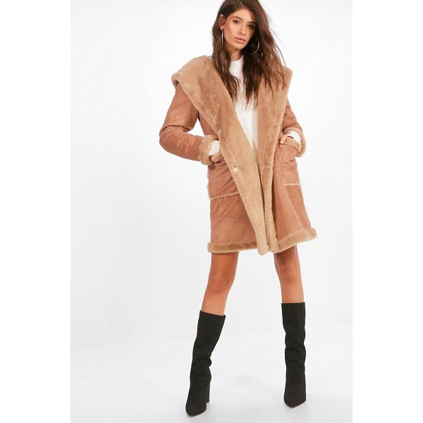 BOOHOO Sofie Bonded Faux Fur Hooded Coat - Wrap up in the latest coats and jackets and get out-there...