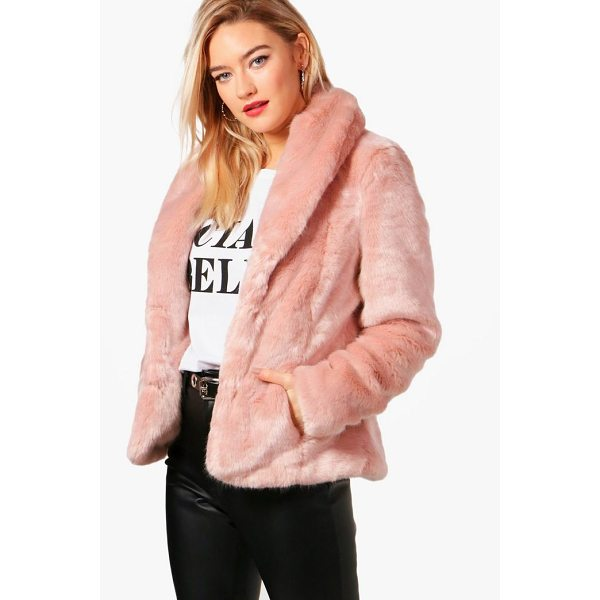 BOOHOO Sophie Boutique Shawl Collar Faux Fur Coat - Wrap up in the latest coats and jackets and get out-there...