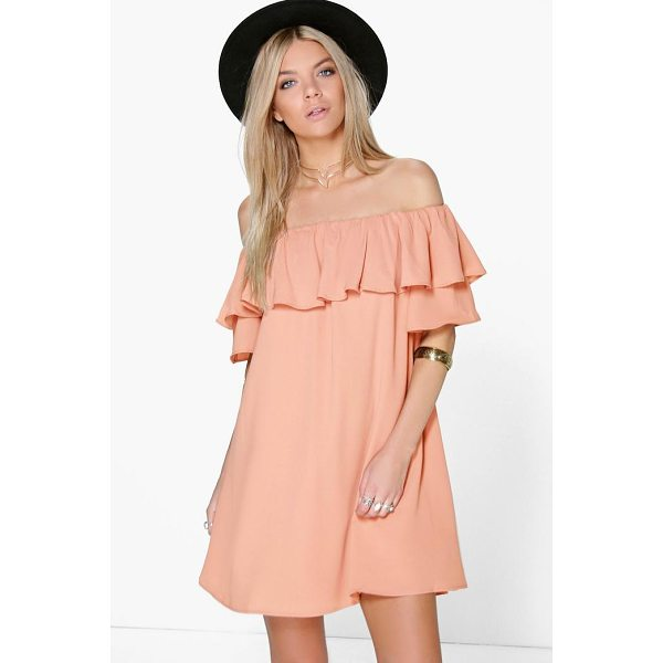 BOOHOO Sophie Ruffle Off Shoulder Woven Dress - Dresses are the most-wanted wardrobe item for day-to-night...