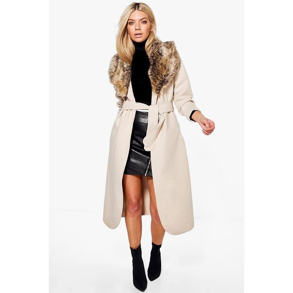 BOOHOO Sophie Shawl Faux Fur Collar Maxi Coat - Wrap up in the latest coats and jackets and get out-there...