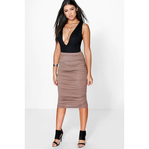 BOOHOO Steph Ruched Sides Jersey Midi Skirt - Skirts are the statement separate in every wardrobe This...