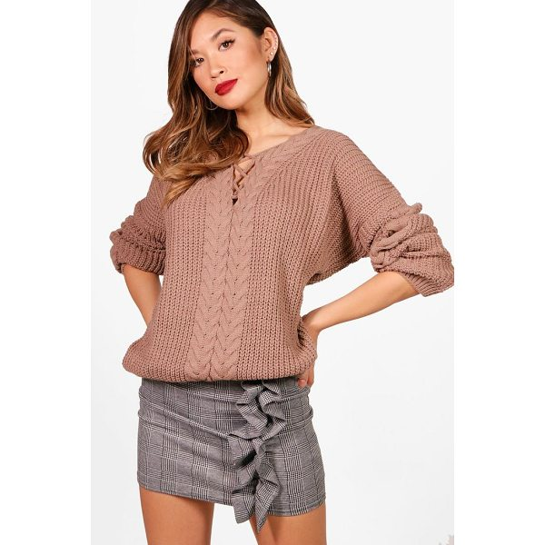 BOOHOO Stephanie Lace Up Cable Detail Jumper - Sweaters are a key piece for your casual wardrobe. Think...