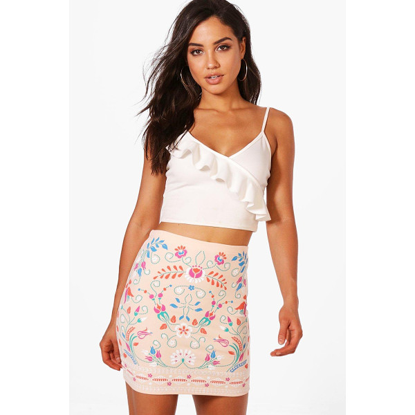 BOOHOO Sula Embroidered Front Mini Skirt - Skirts are the statement separate in every wardrobe This...