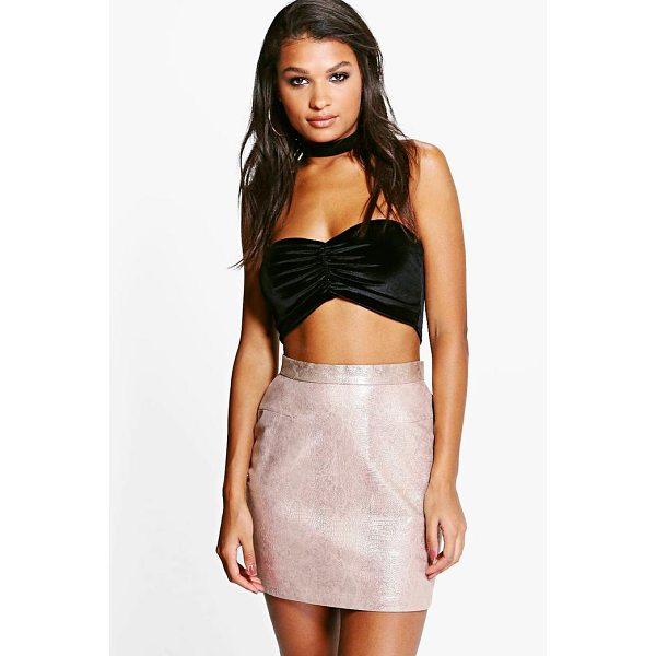 BOOHOO Suri Metallic Faux Snake A Line Mini Skirt - Skirts are the statement separate in every wardrobe This...