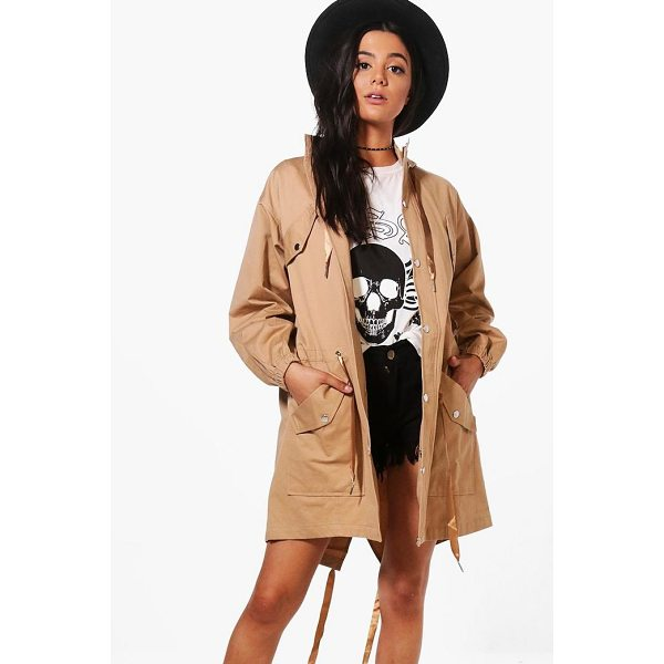 BOOHOO Suzie Hooded Longline Utility Jacket - Wrap up in the latest coats and jackets and get out-there...