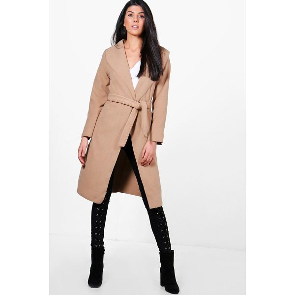 BOOHOO Tamara Belted Shawl Collar Coat - Wrap up in the latest coats and jackets and get out-there...