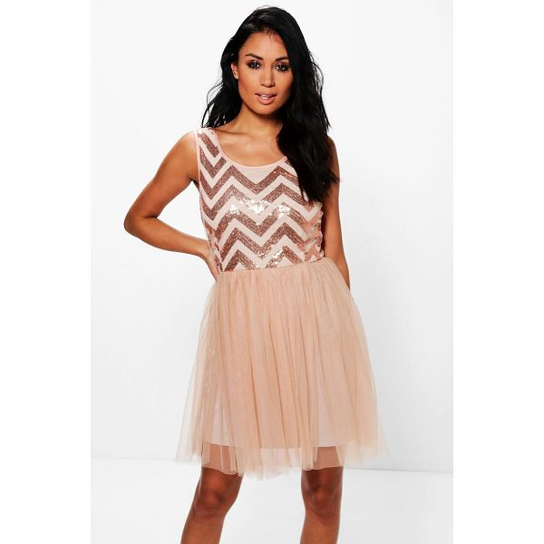 BOOHOO Tamara Sequin Top Mesh Skirt Skater Dress - Dresses are the most-wanted wardrobe item for day-to-night...