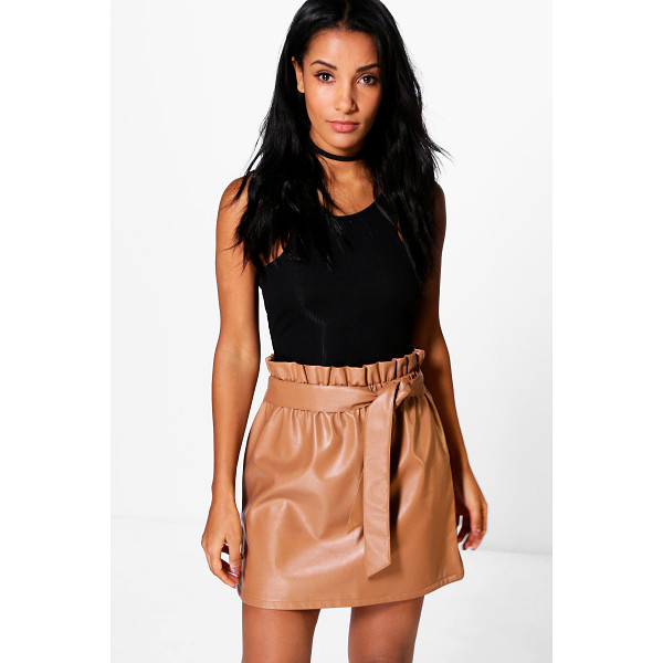 BOOHOO Tamison Paperbag Waist Leather Look Skirt - Skirts are the statement separate in every wardrobe This...